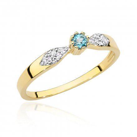Biżuteria SAXO 14K Pierścionek z topazem i diamentami 0,15ct BC-013 Złoto