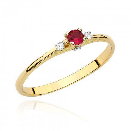 Biżuteria SAXO 14K Pierścionek z rubinem i diamentami 0,15ct BC-014 Złoto