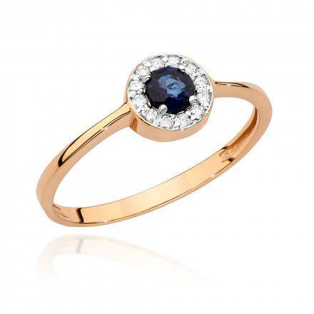 Biżuteria SAXO 14K Pierścionek z szafirem i diamentami 0,30ct BC-016 Różowe Złoto