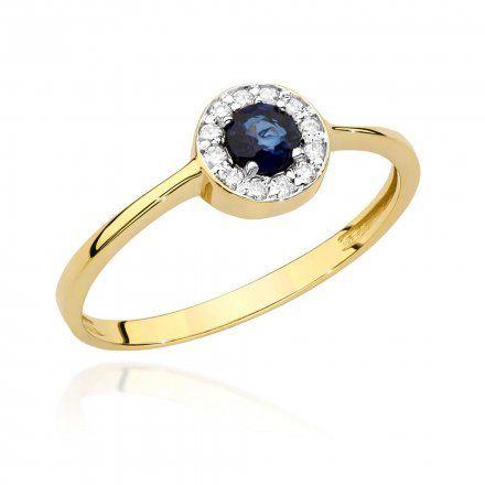 Biżuteria SAXO 14K Pierścionek z szafirem i diamentami 0,30ct BC-016  Złoto