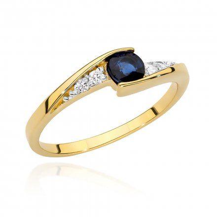 Biżuteria SAXO 14K Pierścionek z szafirem i diamentami 0,30ct BC-018  Złoto
