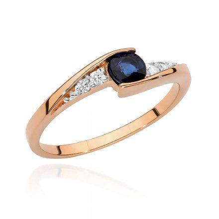 Biżuteria SAXO 14K Pierścionek z szafirem i diamentami 0,30ct BC-018 Różowe  Złoto
