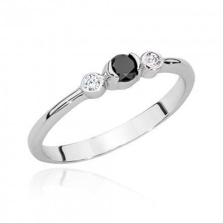 Biżuteria SAXO 14K Pierścionek z czarnym diamentem 0,12ct BC-020 Białe Złoto