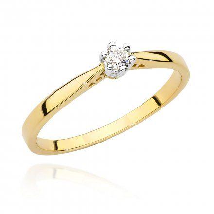 Biżuteria SAXO 14K Pierścionek z diamentem 0,08ct BC-021 Złoto