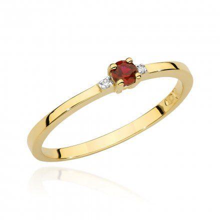Biżuteria SAXO 14K Pierścionek z rubinem i diamentami 0,15ct BC-023 Złoto