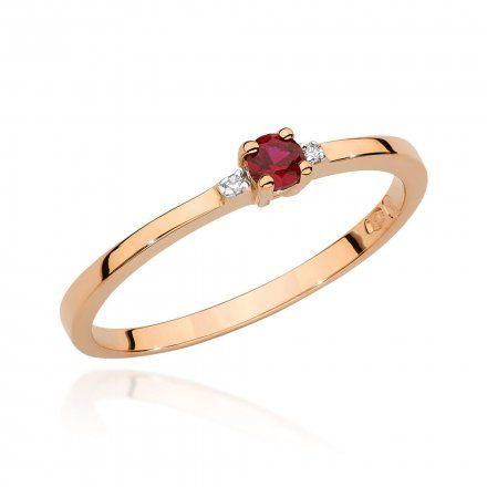 Biżuteria SAXO 14K Pierścionek z rubinem i diamentami 0,15ct BC-023 Różowe Złoto