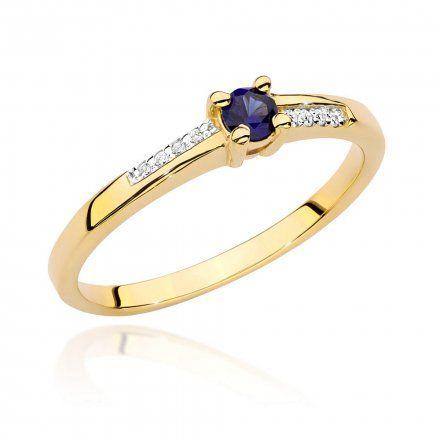 Biżuteria SAXO 14K Pierścionek z szafirem i diamentami 0,15ct BC-024  Złoto