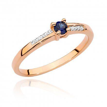 Biżuteria SAXO 14K Pierścionek z szafirem i diamentami 0,15ct BC-024 Różowe  Złoto