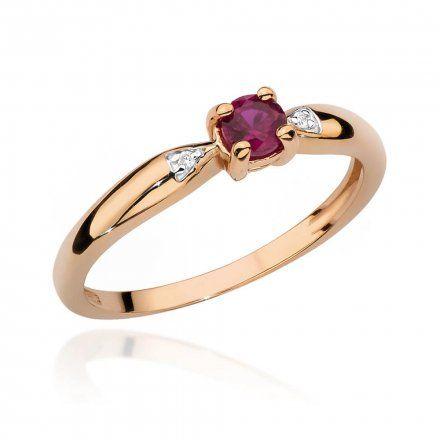 Biżuteria SAXO 14K Pierścionek z rubinem i diamentami 0,15ct BC-025 Różowe Złoto