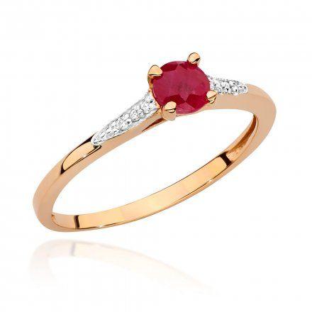 Biżuteria SAXO 14K Pierścionek z rubinem i diamentami 0,15ct BC-026 Różowe Złoto