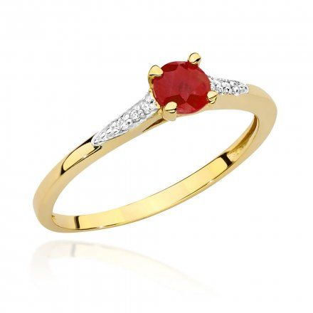 Biżuteria SAXO 14K Pierścionek z rubinem i diamentami 0,15ct BC-026 Złoto
