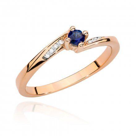 Biżuteria SAXO 14K Pierścionek z szafirem i diamentami 0,15ct BC-028 Różowe Złoto