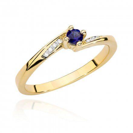 Biżuteria SAXO 14K Pierścionek z szafirem i diamentami 0,15ct BC-028 Złoto