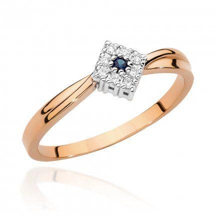 Biżuteria SAXO 14K Pierścionek z szafirem i diamentami 0,03ct BC-029 Różowe Złoto