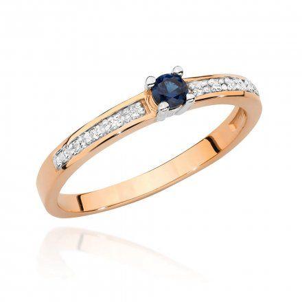 Biżuteria SAXO 14K Pierścionek z szafirem i diamentami 0,15ct BC-030 Różowe Złoto