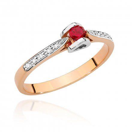 Biżuteria SAXO 14K Pierścionek z rubinem i diamentami 0,15ct BC-032 Różowe Złoto