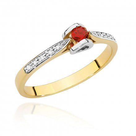 Biżuteria SAXO 14K Pierścionek z rubinem i diamentami 0,15ct BC-032 Złoto