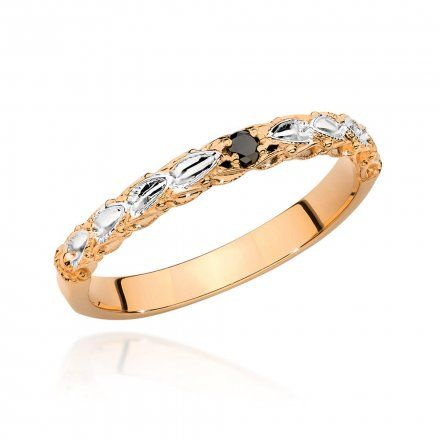 Biżuteria SAXO 14K Pierścionek z czarnym brylantem 0,03ct BC-033 Różowe Złoto