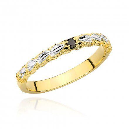 Biżuteria SAXO 14K Pierścionek z czarnym brylantem 0,03ct BC-033 Złoto