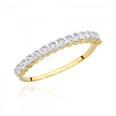Biżuteria SAXO 14K Pierścionek z brylantem 0,13ct BC-034 Złoto
