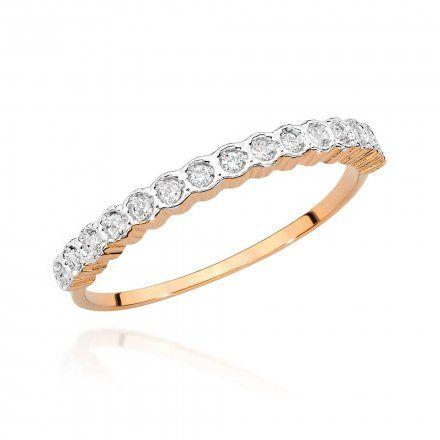 Biżuteria SAXO 14K Pierścionek z brylantem 0,13ct BC-034 Różowe Złoto