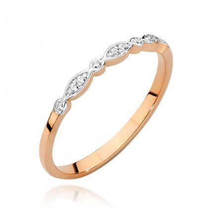 Biżuteria SAXO 14K Pierścionek z brylantem 0,05ct BC-043 Różowe Złoto
