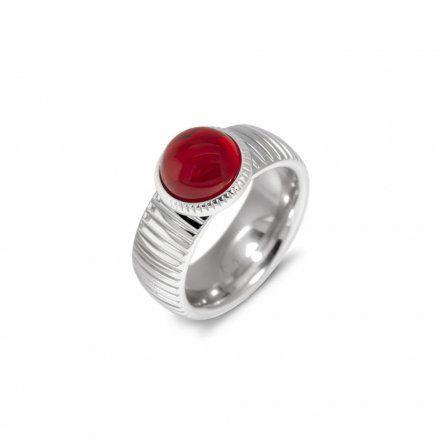 Element wymienny Meddy Melano Vivid VM18 Okrągły z grawerem Różowe złoto Ruby Red