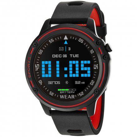 Czarno-czerwony smartwatch sportowy Marea B57005/1