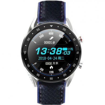Smartwatch męski Pacific 05 Rozmowy - pasek karbon czarny-niebieski