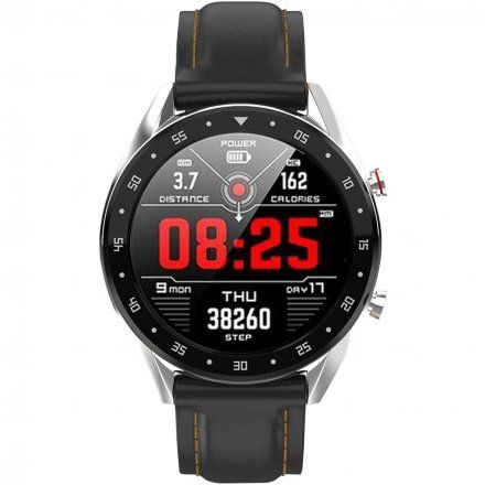 Smartwatch męski Pacific 05 Rozmowy - pasek silikon czarny-pomarańcz