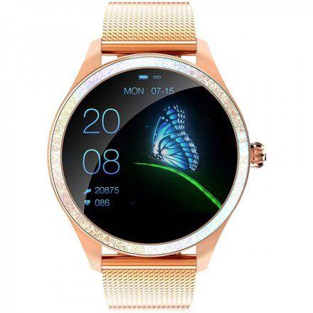 Różowozłoty smartwatch damski kryształki z bransoletką Pacific 07