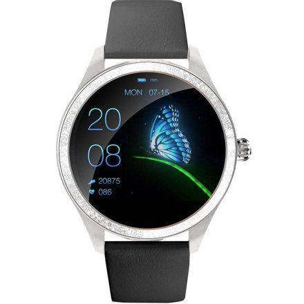 Srebrny smartwatch damski kryształki z czarnym paskiem Pacific 07