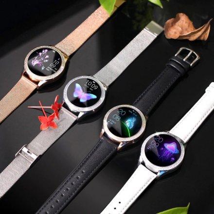 Srebrny smartwatch damski kryształki z szarym paskiem Pacific 07
