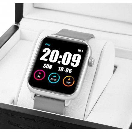 Szary smartwatch męski damski Rubicon RNCE56SIBX01AX