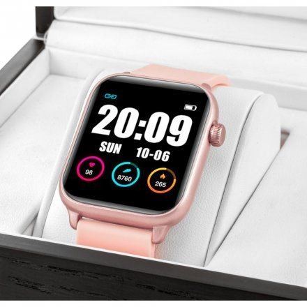 Różowy smartwatch damski Rubicon RNCE56RIBX01AX