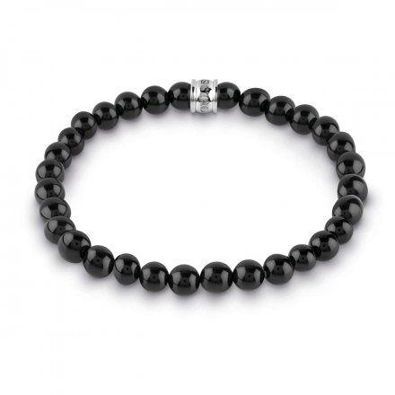 Biżuteria Guess męska bransoletka czarne koraliki UMB28015