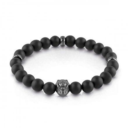 Biżuteria Guess męska bransoletka czarne koraliki lew UMB29000