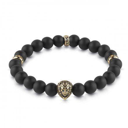 Biżuteria Guess męska bransoletka czarne koraliki lew UMB78001