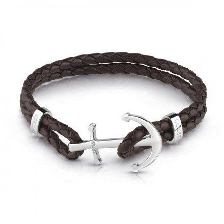 Biżuteria Guess męska bransoletka brązowa kotwica srebrna UMB78007-L
