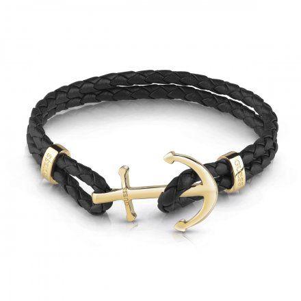 Biżuteria Guess męska bransoletka czarna kotwica złota UMB79002-L