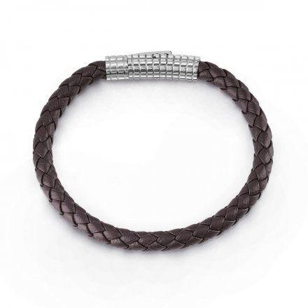 Biżuteria Guess męska bransoletka pleciona brązowa UMB85007