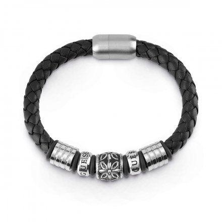 Biżuteria Guess męska bransoletka pleciona czarna UMB85009