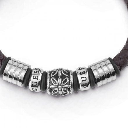 Biżuteria Guess męska bransoletka pleciona brązowa UMB85010