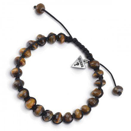 Biżuteria Guess męska bransoletka brązowe koraliki UMB85023