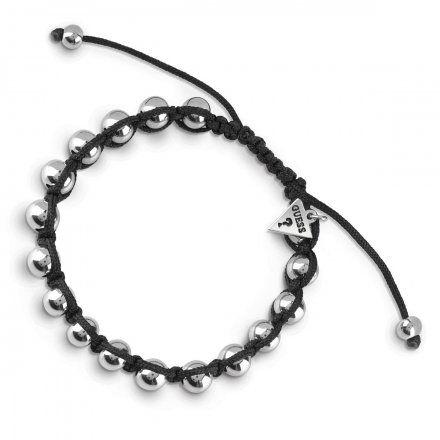 Biżuteria Guess męska bransoletka srebrne koraliki UMB85026