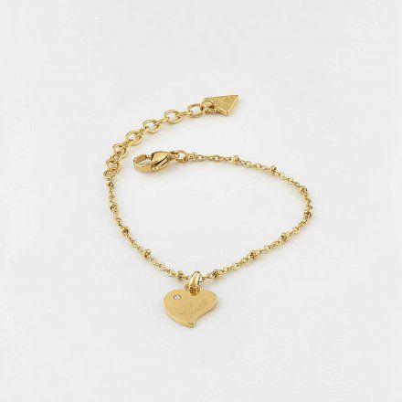 Biżuteria Guess damska bransoletka złota serce UBB79010-L