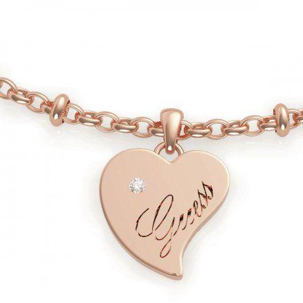 Biżuteria Guess damska bransoletka różowe złoto serce UBB79011-L