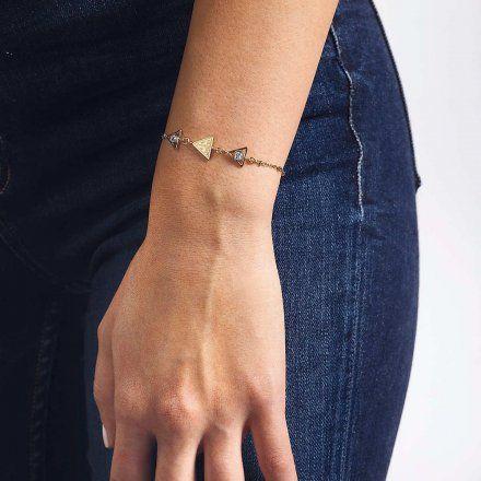 Biżuteria Guess damska bransoletka złota trójkąty UBB79016-L