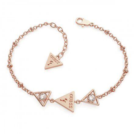 Biżuteria Guess damska bransoletka różowe złoto trójkąty UBB79017-S