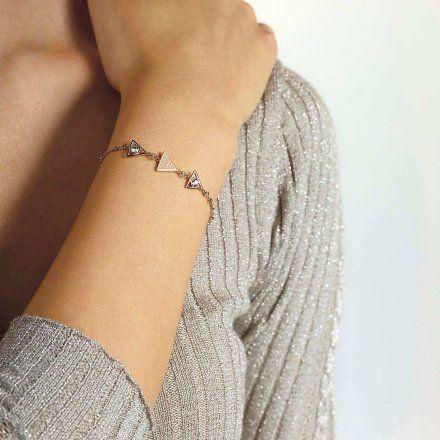 Biżuteria Guess damska bransoletka różowe złoto trójkąty UBB79017-L